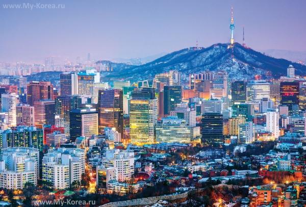 Ночной панорамный вид на Сеул