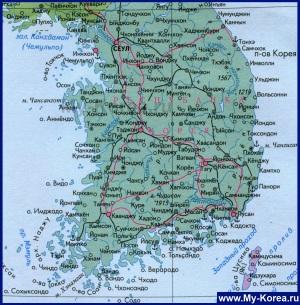 Карта Южной Кории на русском языке
