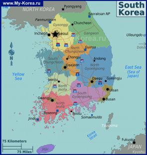 Карта Южной Кореи по регионам