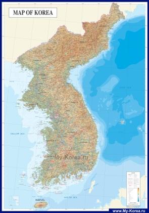 Подробная физическая карта Кореи